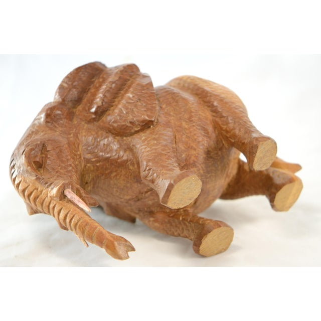 White Hand Carved Wood Elephant For Sale - Image 8 of 9