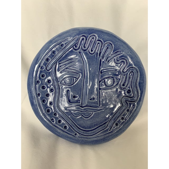Blue Abstract Art Ceramic Pottery Plate Face Sculpture For Sale - Image 10 of 11