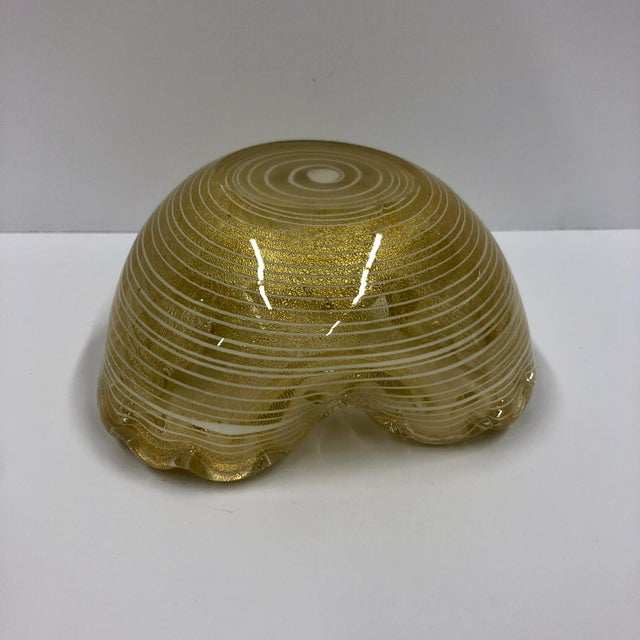 Vintage Gold and White Pinstripe Murano Sculptural Glass Dish For Sale - Image 4 of 5