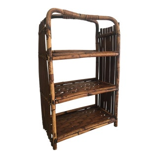 Vintage Boho Chic Scorched Bamboo Shelf For Sale