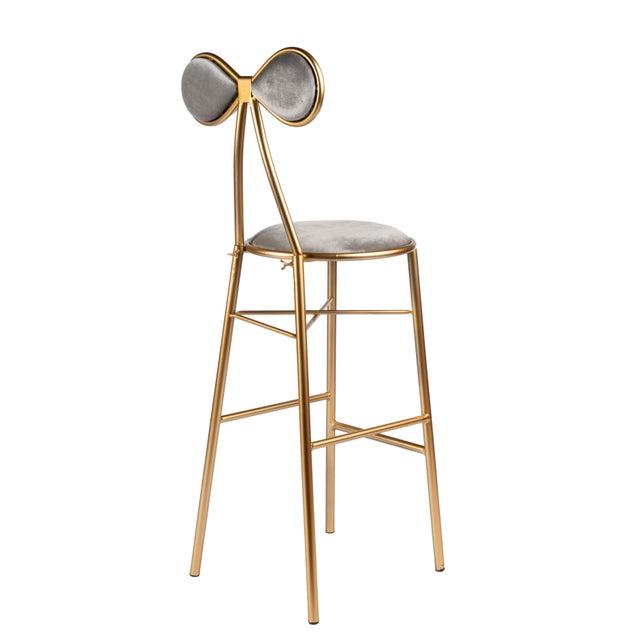 Contemporary Modern Gold Bow Bar Chair For Sale - Image 3 of 5