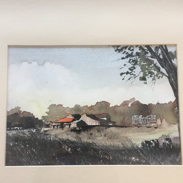 Original watercolor painting on paper Signed in distinctly lower right 7 x 9.5 overall size with frame & mat is 17 x 21