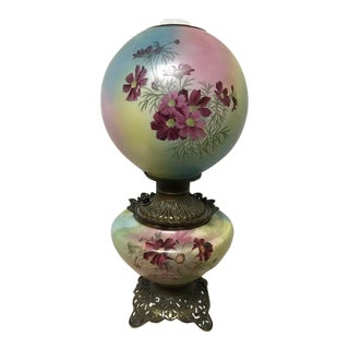Antique Oil Style Hand Painted Lamp For Sale