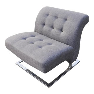 Mid Century Modern Grey Lounge Chair Attributed to Milo Baughman For Sale