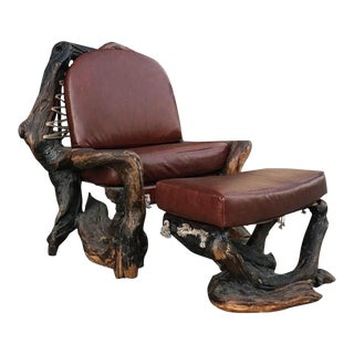Handcrafted Live Burl Redwood Armchair by Daryl Stokes For Sale