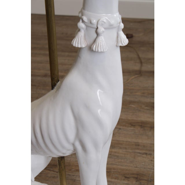 Mid Century Italian Pottery White Whippet Greyhound Dog Floor Lamp For Sale - Image 10 of 13