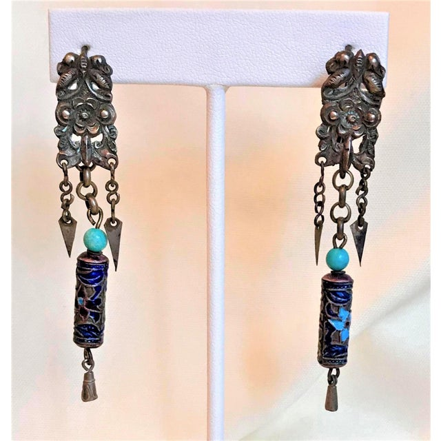 Metal Antique Chinese Enamel and Turquoise Bead Earrings For Sale - Image 7 of 7