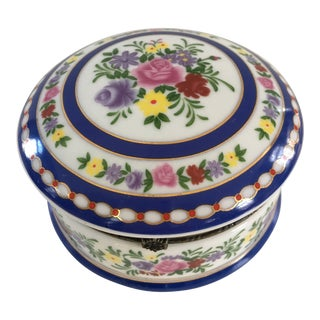 1970s Vintage Imperial Porcelain Floral Lidded Box For Sale