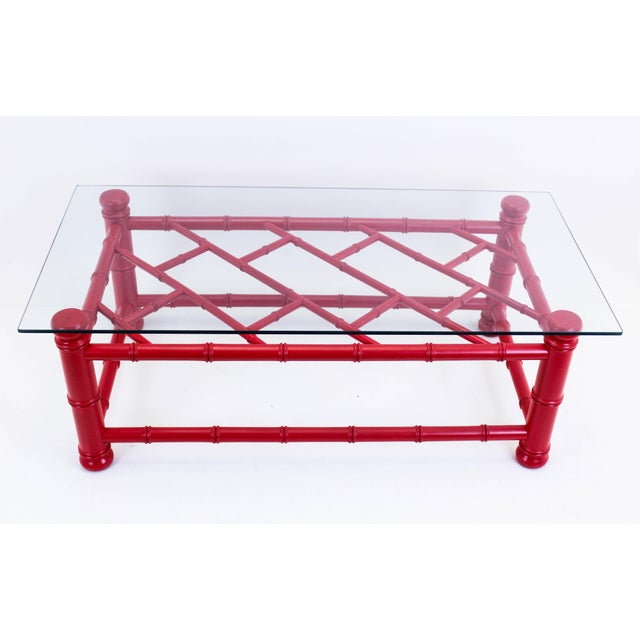 Palm Beach Style Coral Red Coffee Table For Sale - Image 9 of 9