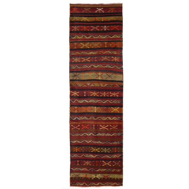 Vintage Turkish Kilim Malatya Runner - 3' X 11'6 - Image 1 of 3