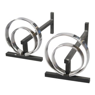 Pair of French Spiral-Form Andirons