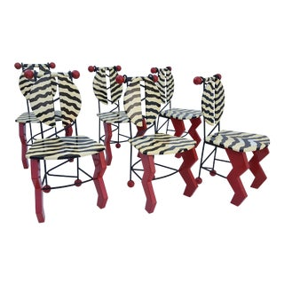 Signed - Thor - Memphis Style Pop Art Dining Chairs Set of - 6