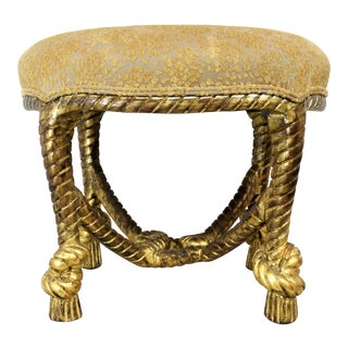 Gold Gilt Twister Rope and Tassel Carved Wood Ottoman For Sale