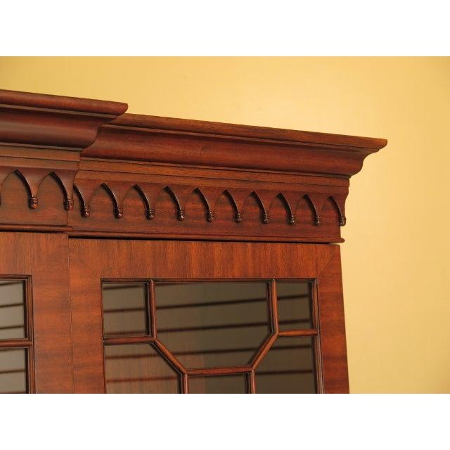 Maitland - Smith Maitland Smith Large Mahogany Breakfront Bookcase Cabinet For Sale - Image 4 of 13