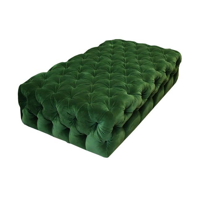 Large Tufted Green Velvet Ottoman For Sale