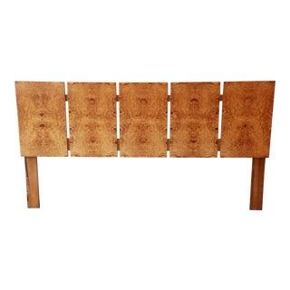 Milo Baughman Style Mid-Century Modern Burl Wood King Size Headboard For Sale