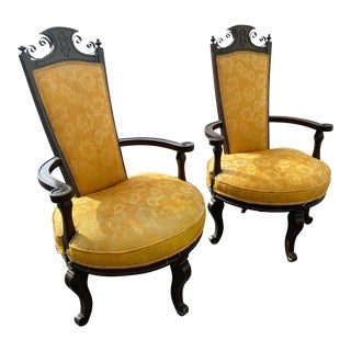 1950s Vintage Upholstered High Back Chairs - a Pair For Sale