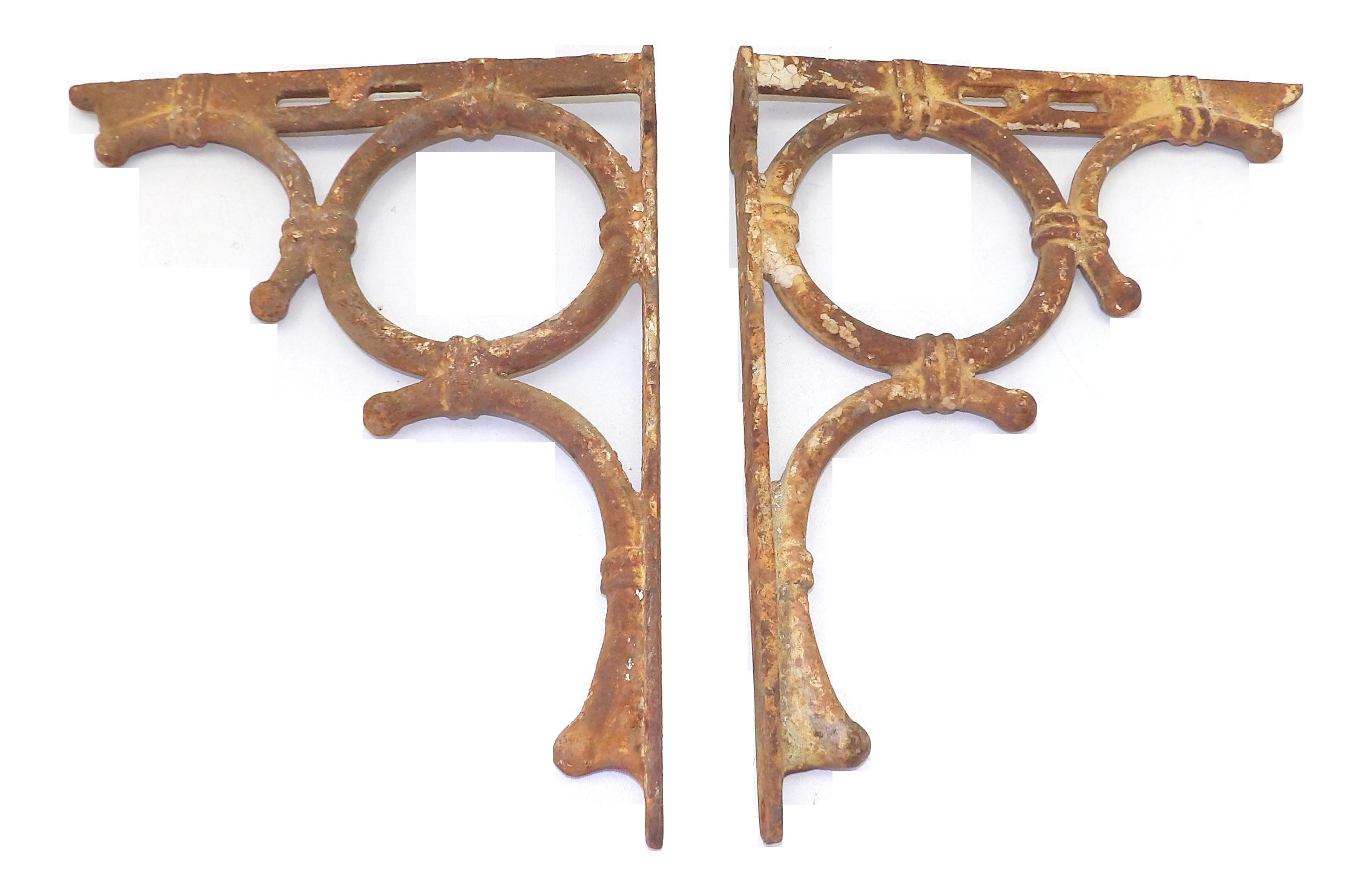 Antique Farmhouse Cast Iron Shelf Brackets A Pair