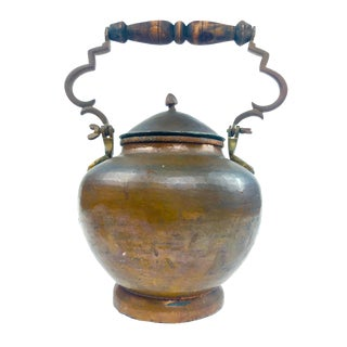 Antique French Copper Vessel W/Handle For Sale