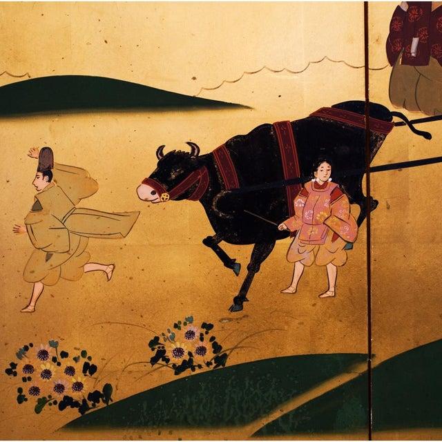 "Metal Shōwa Era ""The Tale of Genji"" Gold-Leaf Japanese Byobu Screen For Sale - Image 7 of 13"