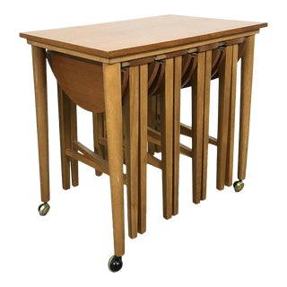 1960s French Country Poul Hundevad Teak Nesting Table Trolley Set - 5 Pieces For Sale