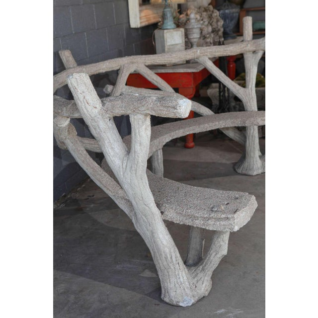 White Faux Bois Curved Bench For Sale - Image 8 of 10
