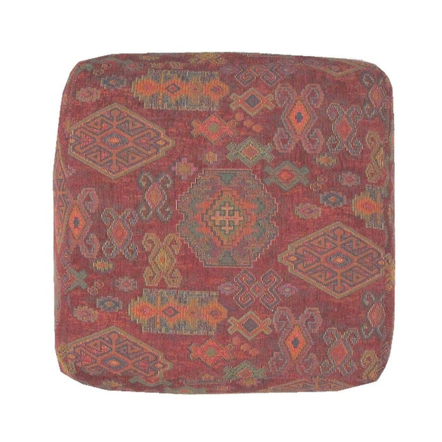 Ottoman with Kilim Style Fabric For Sale
