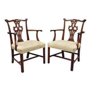 Vintage Solid Mahogany Chippendale Style Dining Chairs - A Pair For Sale
