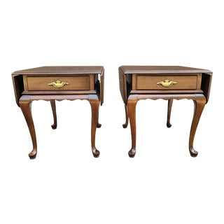 Ethan Allen Georgian Court Cherry Drop Leaf Pembroke Side Tables - a Pair For Sale
