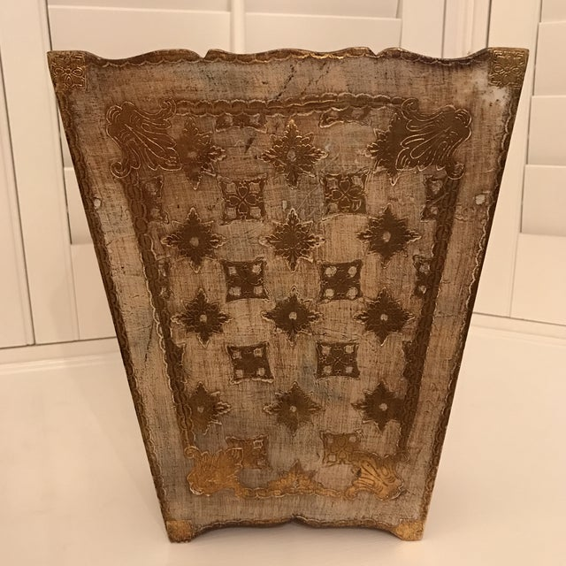 Hollywood Regency 1950s Italian Florentine Glided Trash Receptacle For Sale - Image 3 of 8