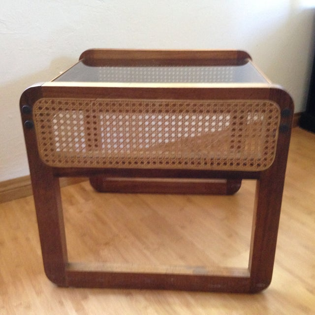 Teak and Rattan Side Table - Image 2 of 8