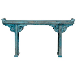 Vintage Chinese Altar Style Distressed Blue Console Table For Sale