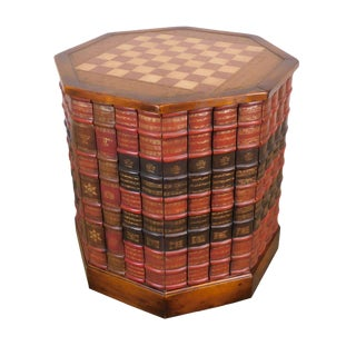 Maitland Smith Leather & Mahogany Faux Books Regency Octagon Checker Board Top Drum Table For Sale