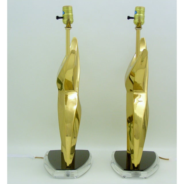 Mid-Century Modern Brass Black Lucite Abstract Figural Table Lamps Inspired by Phillipe Jean MCM - a Pair Millennial For Sale - Image 9 of 11