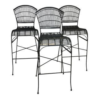 1950s Mid-Century Iron and Wood Bar-Stools - Set of 3 For Sale