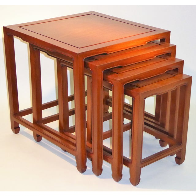 1970s Vintage Baker Far East Collection Style Teak Nesting Tables - Set of 4 For Sale In Miami - Image 6 of 12