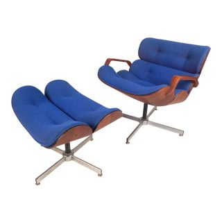 Vintage Modern Eames Style Swivel Lounge Chair and Ottoman For Sale