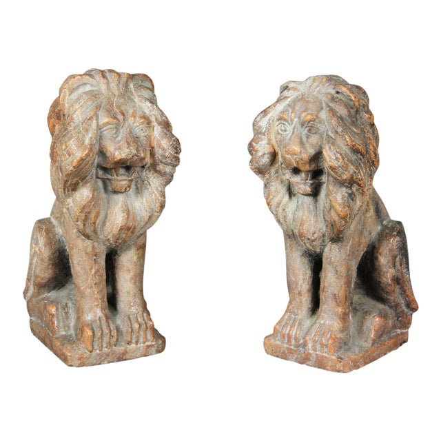 Pair of Italian Verona Marble Lions For Sale