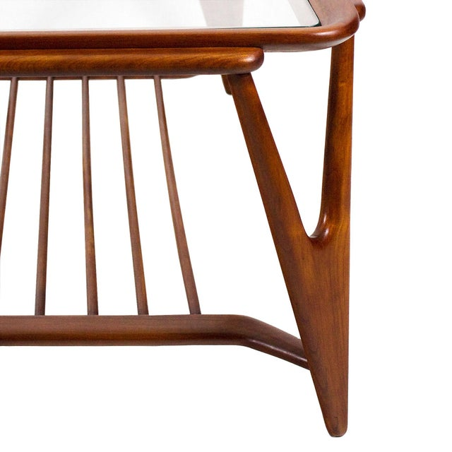 1945-50 Large Coffee Table, Cherry Wood and Glasses - Italy For Sale - Image 6 of 7