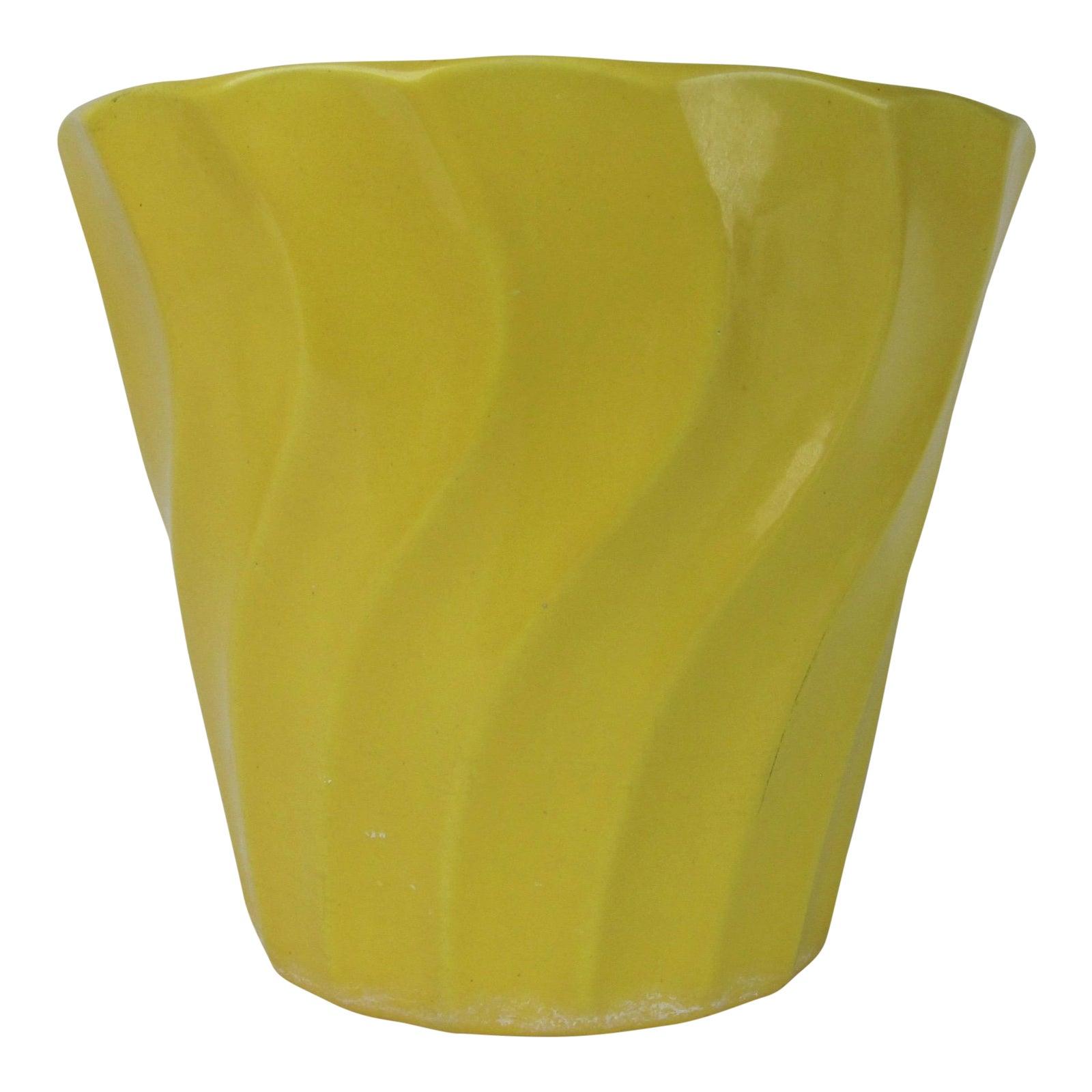 Vintage Yellow Bauer Swirl Flower Pot Size 8 Chairish