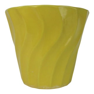 Vintage Yellow Bauer Swirl Flower Pot Size 8 For Sale