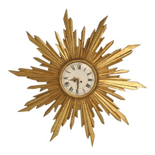 French Water Gilded Sunburst Clock, circa 1890 For Sale