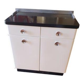 Vintage White and Black Steel Medical Cabinet For Sale