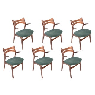 Set of Six Rare Erik Buch Model 310 Captain's Dining Chairs For Sale