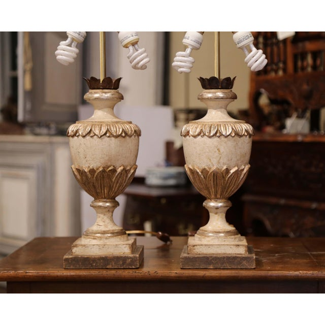 Italian Carved Wood Polychrome and Painted Urn Shape Table Lamps - a Pair For Sale - Image 10 of 13
