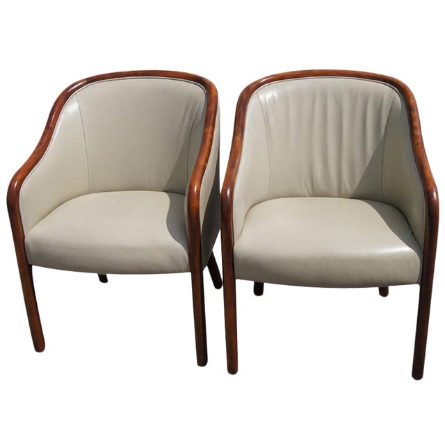 Pair of Ward Bennett for Brickel Leather Arm Chairs For Sale