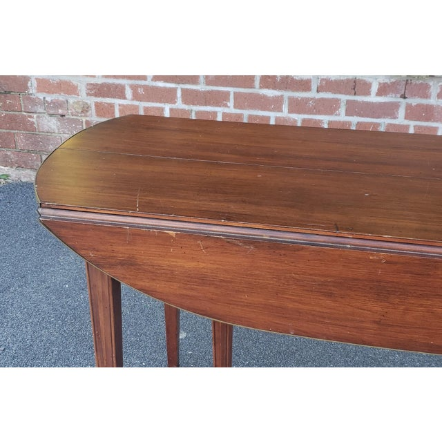 1950s 20th Century Mahogany Regency Style Brass Edge Drop Leaf Dining Room Table W/ 4 Leaves C1950 For Sale - Image 5 of 13