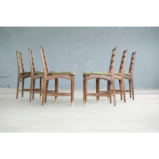 Green Set of Six Ole Wanscher Attributed Danish Midcentury Dining Chairs For Sale - Image 8 of 10