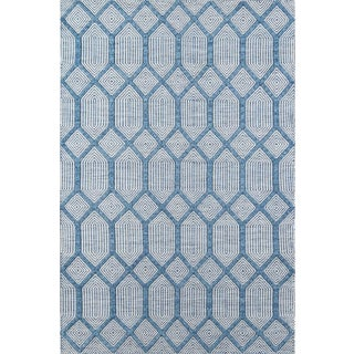 "Erin Gates Langdon Cambridge Blue Hand Woven Wool Area Rug 7'6"" X 9'6"" For Sale"