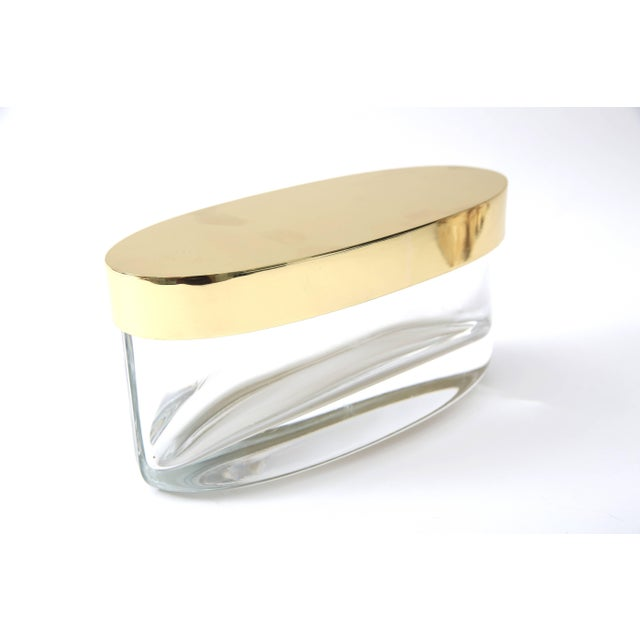 Contemporary Oval-Form Lidded Box in Crystal and Brass by Fontana Arte For Sale - Image 3 of 8